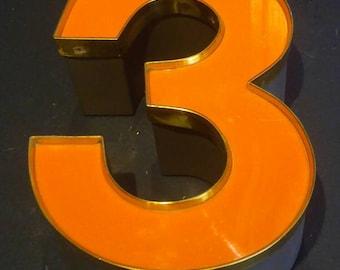 Vintage Reclaimed Industrial Sign Letter Number 3 Orange Number 3 With Gold Trim 3D