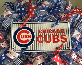 Chicago Cubs Baseball Red White Blue Sports Welcome Decomesh Mesh Wreath