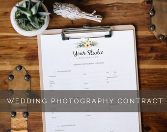 Printable Wedding Photography Contract for Photographers
