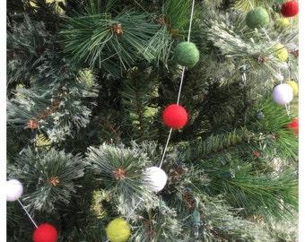 Felt Ball Garland- Christmas Tree Bundle  8-10 ft tall Christmas tree