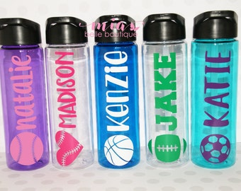 Personalized sports water bottle, personalized sports gifts, sports team gifts, team water bottles, sports party favor, sports tumbler