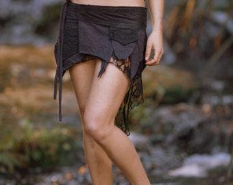 Pixie Pocket Skirt (Black) - Fairy Elf Sexy Hippie Boho Goa Festival Pixie Gypsy Bohemian Skirt
