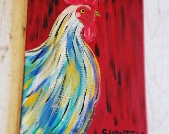 Chicken Painting- Farmhouse Décor- Chicken Décor- Rooster Décor- Rooster Kitchen Décor- Rooster Painting- Farm Animal Painting- Canvas Art