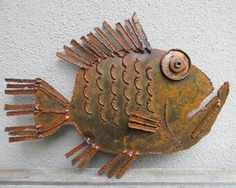 Big Mouth Fish - Metal Art, Wall Art, Metal Sculpture, Fish Art, Beach Decor, Beach Art
