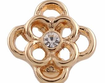 LM1907G ~ Gold Tone and Crystal Fleur-de-Lis Charm for Wrap Charm Bracelets