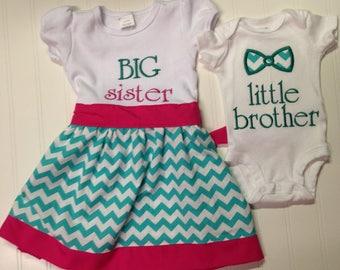 Big sister shirt, new baby sibling shirt, im a big sister, embroidered, custom shirt, monogram if desired, coordinating siblings