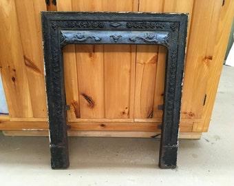 Antique (#2) Architectural Salvage Victorian Era Ornate Cast Iron Fireplace Surround