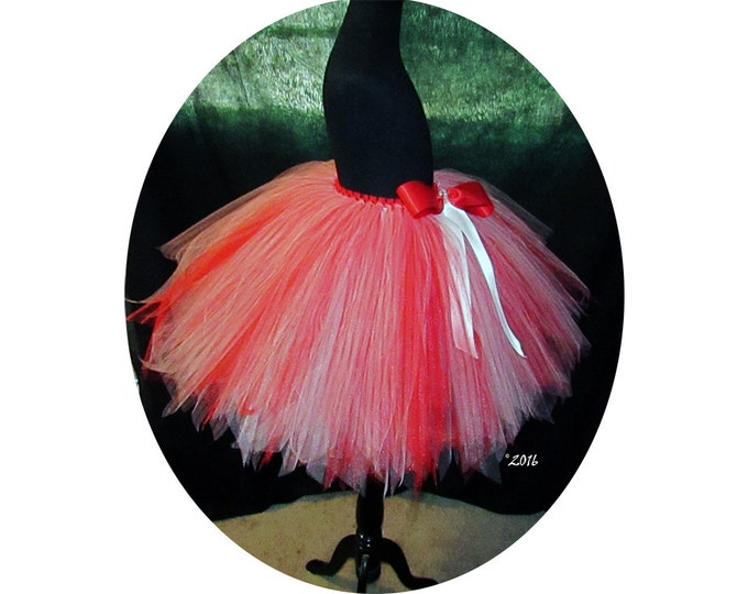 Women's Red and White Specialty Inspired Tulle Skirt