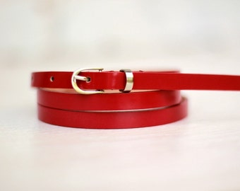 Free shipping! Leather belt, red belt, lacquer red belt, belt for woman, waist belt, narrow belt, maroon belt, belt for dress