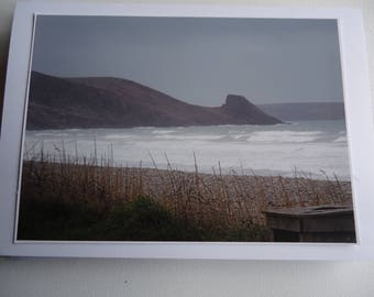 Original Photographic Print Greetings Card - Stormy Seascape Newgale