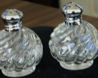 Vintage Swirl Glass Salt and Pepper Shakers