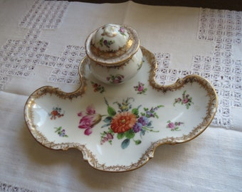 Vintage Dresden china inkwell