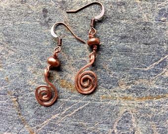 MIni Copper Swirl Earrings- Dangle Swirl Earrings- Pearl and Copper Earrings- Dangle Earrings- Copper Swirl Earrings