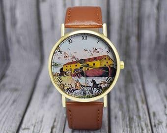 Noah's Ark | Vintage Style Watch | Bible Story | Leather Watch | Ladies Watch | Men's Watch | Wedding | Birthday | Gift Ideas | Accessories
