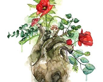 "Watercolor Anatomical Heart Painting - Print titled ""Overgrown"", Anatomical Heart, Botanical, Human Heart, Forest Heart, Watercolor Flowers"