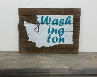 Washington State Wall Art - Barn Wood Sign - Wooden Home Sign - Pacific Northwest - Primitive Country - Rustic Reclaimed Decoration - Gift