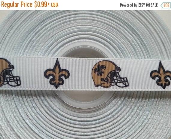 "SUPER SALE NEW Orleans Saints 7/8"" Grosgrain Hair Bow Craft Ribbon 782495"