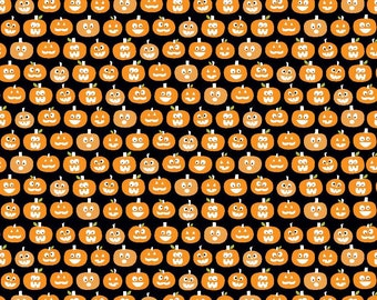 "SALE Riley Blake Designs ""Halloween Magic"" by Bella Blvd. 100% cotton, pattern GC4615 Black - Glow In The Dark Pumpkins, quilting fabric"