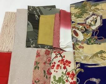 Japanese  fabric, Vintage kimono fabric, Patchwork, DIY fabrics, 10pcs, grab bag, Free shipping, #5