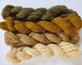 mini skeins, merino singles, naturally dyed, hand dyed, alder