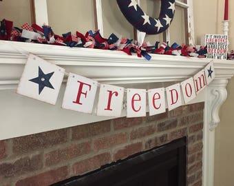 Summer Decor• Summer Banner • Freedom Banner • July 4th Decorations • Patriotic Banner• July 4th Banner