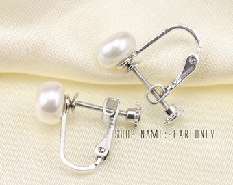 Sterling silver clip pearl earrings for non pierced ears,freshwater clip on pearl earrings,clip on earrings,natural white pearl earrings