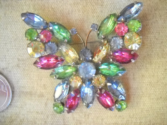 Wonderful Vintage Signed WEISS Multi-Color Rhinestone Butterfly Brooch.