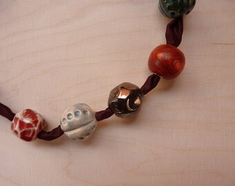 Round ceramic bead necklace