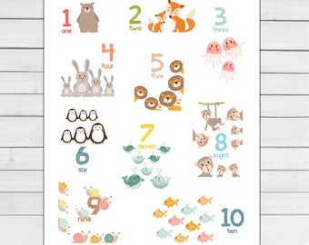 Animal number wall art Number animals 123 art Counting poster Number wall decal ABC poster Nursery decor Digital Pdf PRINTABLE 8 x 10