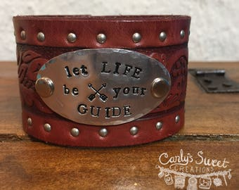 """Stamped """"Let Life Be Your Guide"""" w/ Arrows Repurposed Red Brown Studded Leather Cuff - Upcycled Leather Belt Cuff"""