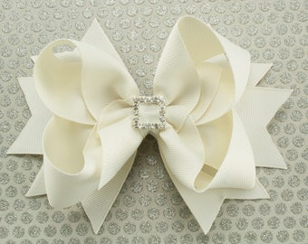 Antique White Boutique Hair Bow with Spikes