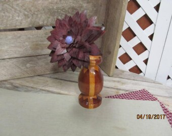 Vintage Artist Signed Decorative Wood Wooden Vase with Wood Flower