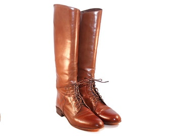 Size 8.5A Justin Field Boots - Brown Leather Field Boots 8.5 Narrow Brown Lace up Riding Boots JS Justin Field Boots Brown Riding Boots 8.5