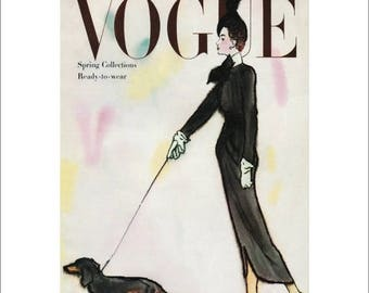 50% Off Estate Sale Vintage Vogue Dog Poster Print, Canine Couture, 1940s Dachshund Dog Picture Art Deco Fashion Art, Dog Art