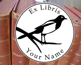 Bookplate stamp •Magpie•, personalized exlibris, custom library stamp, librarian stamp, name stamp, book stamp, exlibris stamp, 747