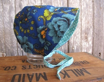 Vintage Style Bonnet, Reversible Bonnet, Fall Baby Bonnet, Vintage Floral Bonnet, Aqua Polka Dot. Baby Girl Hat, Infant Bonnet, Retro Bonnet