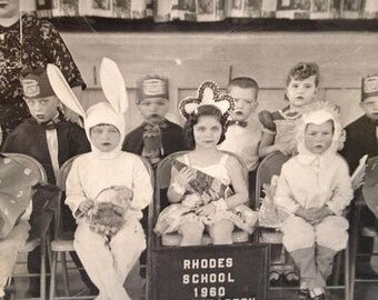 ON SALE Vintage 1960's Kindergarten Class Photo COSTUMES Old Photo Sixties Children Kids