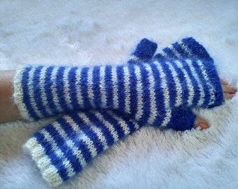 Stripy Mohair  Fingerless Mittens Gloves