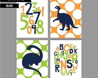 Orange Green Navy Dinosaur Baby Boy nursery art prints Nursery canvas art, Alphabet numbers Set of 4 8x10 ( S81014 )