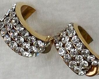 Vintage gold plated, rhinestones half hoop stud earrings