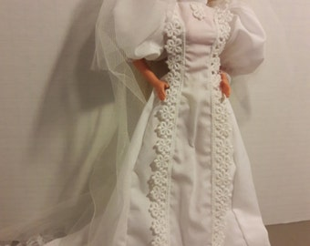 """B 064 Handmade Victorian Style Wedding Gown and Veil for Barbie and other 11 1/2"""" fashion dolls"""