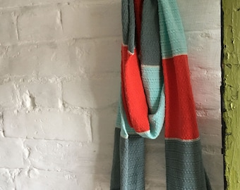 Mint, lovat, scarlet texture scarf, knitted colourblock scarf, pastel spring scarf, vegan cotton scarf