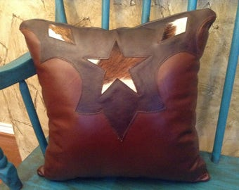 Genuine Leather Decorative Throw Pillow with a Western, Rustic look
