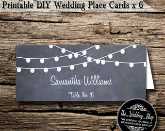 Instant Download- Printable PDF DIY String Lights On Chalkboard Wedding Tent Style Template 6 Place Cards Per Sheet