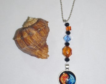 Orange and Blue,  Yin Yang,  Rear View Mirror Charm,  One of a Kind,  Handcrafted Gifts,  Ready To Ship,  Spring Sale