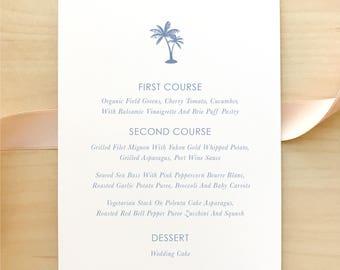 Wedding Menu / Palm Tree Minimalist Suite / Classic, Blue, Simple, Beach, Destination Wedding / #1122