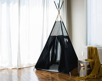 Black Teepee tent- Play tent- Play Room- Tepee