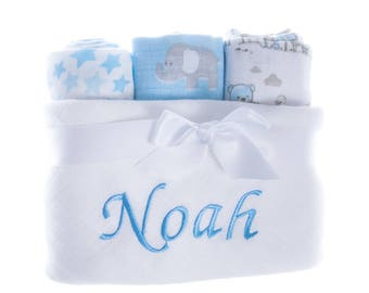 Personalised Set Of 4 Muslin Cloths Squares Baby Boy