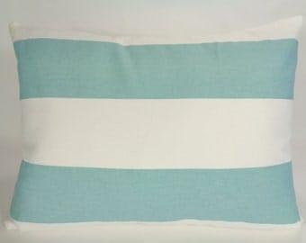 Stripe Turquoise Pillow, Blue Accent Pillow, Blue Stripe Pillow, 12x16 Pillow