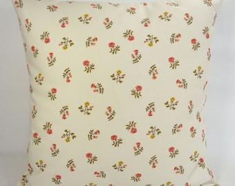 Rose Pillow, Cream Pillow Cover, Small Roses Pillow, 16x16 Pillow